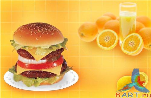 PSD - Cheeseburger with fruit juice