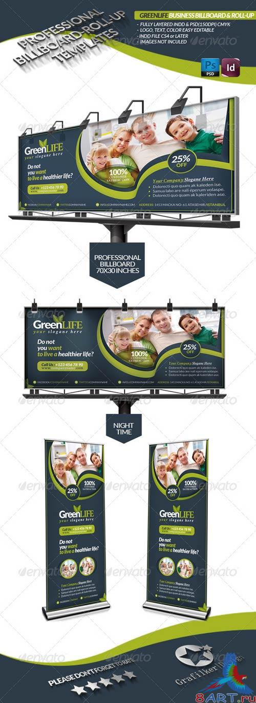 GraphicRiver Green Life Business Billboard Roll-Up