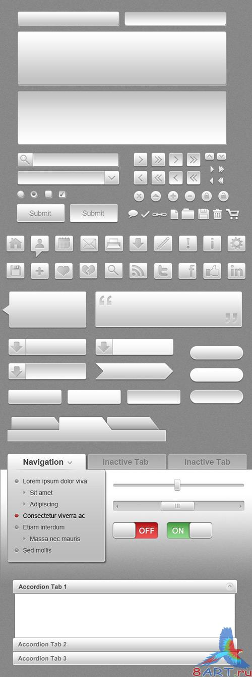 Gray UI Icon Set (PSD)