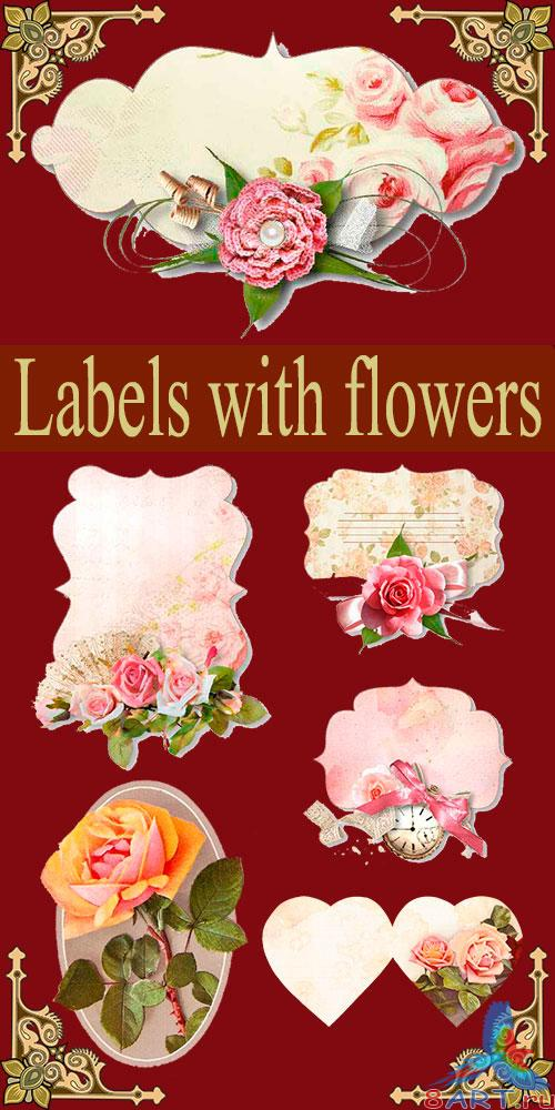 �������� ������� � ������� / Labels with flowers