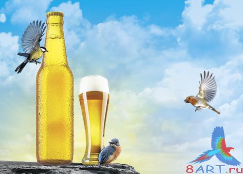 PSD Source - Gold Beer Advertizing
