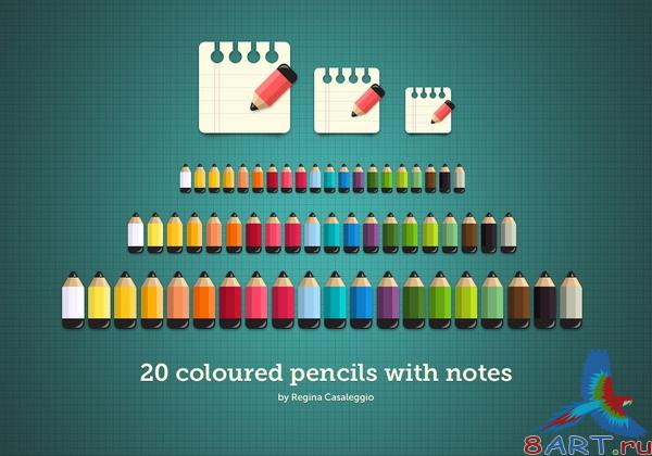 Coloured Pencils with Notes