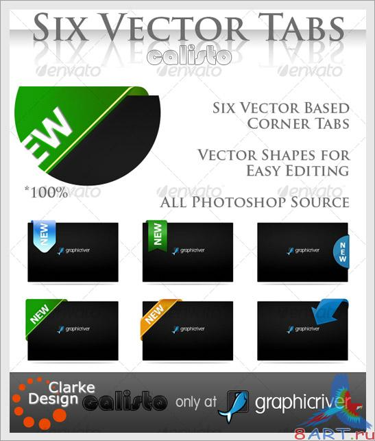 Six Vector Corner Tabs - GraphicRiver