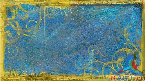 PSD - Gold Drawing Floral Frame