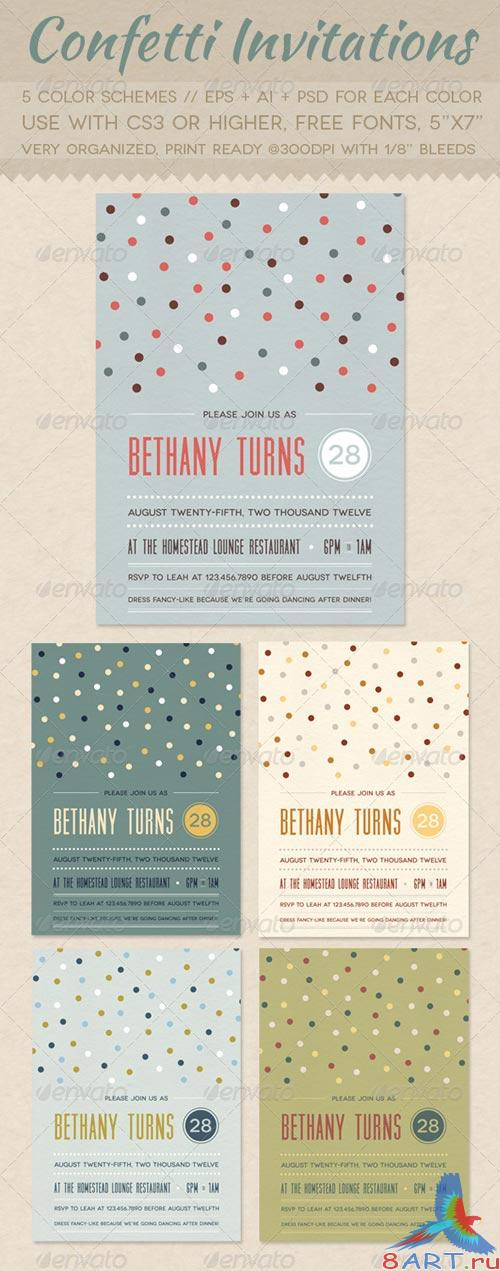 GraphicRiver Confetti Invitations