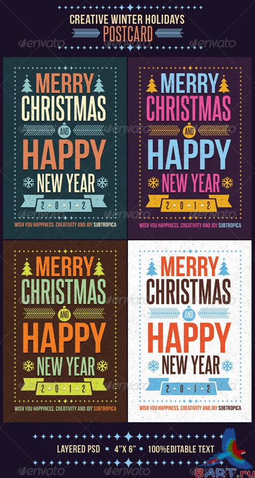 GraphicRiver - Creative Winter Holidays Postcard 794198