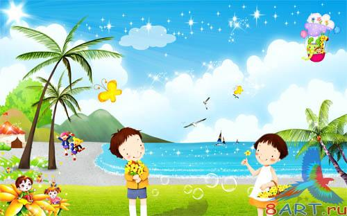 PSD - Cartoon Beach Template
