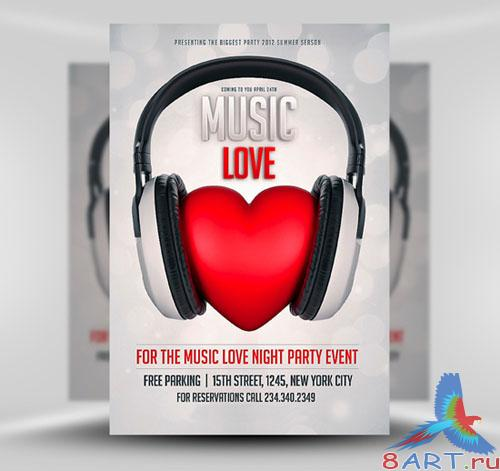 Music Love Flyer/Poster PSD Template