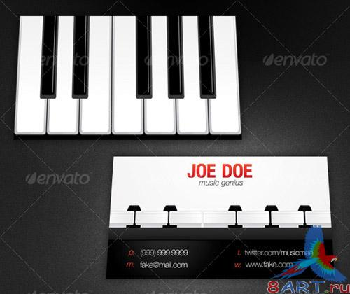 Business card piano style