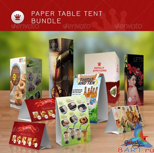 GraphicRiver Bundle: Paper Table Tent Mock-up Templates