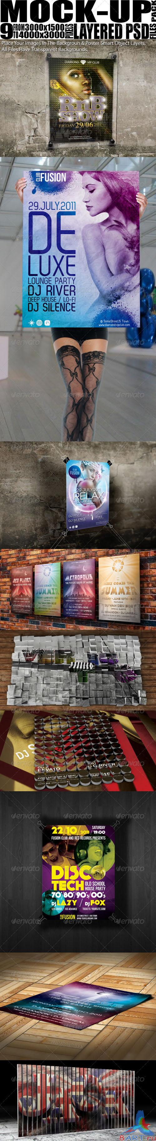 GraphicRiver - Mock Up Pack 9 Poster/Flyer Mock-Ups 1439024