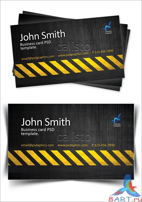 Business card template, construction hazard stripes theme