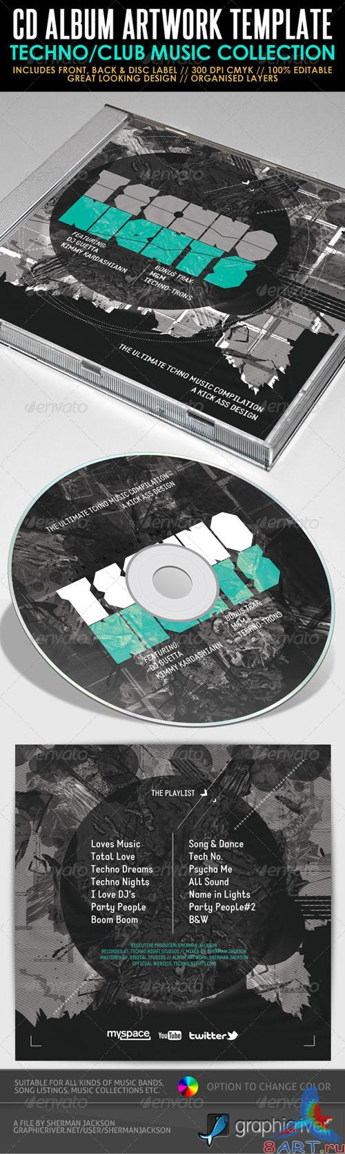 GraphicRiver - Techno Nights Mixtape CD Artwork PSD Template 2502932