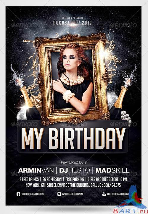 GraphicRiver Birthday party invitation flyer template