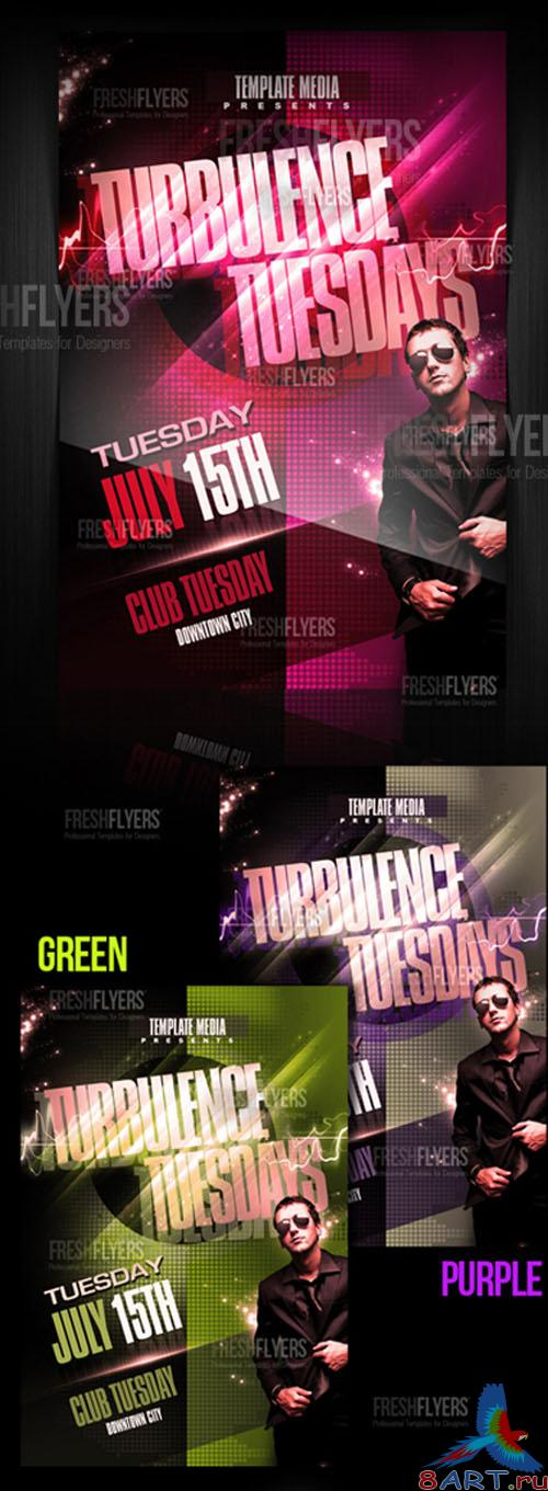 PSD Template - Turbulence Tuesdays Party Flyer/Poster