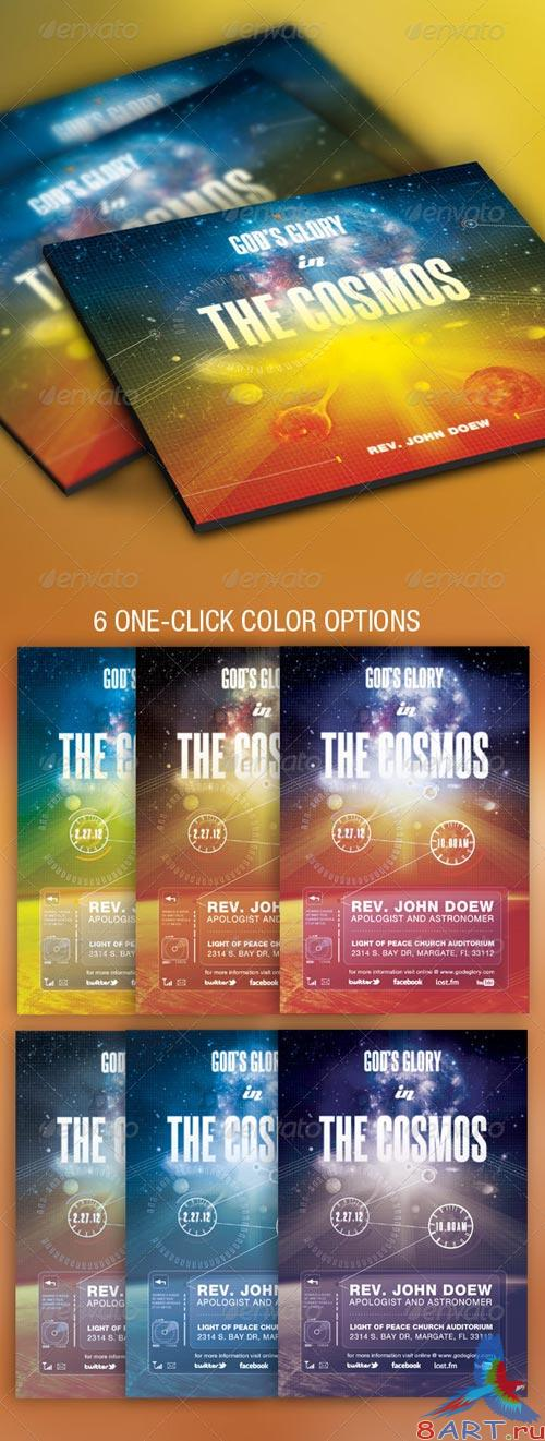 GraphicRiver God's Glory In The Cosmos Church Flyer and CD