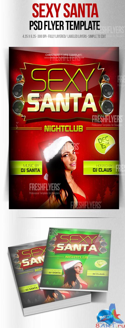 Sexy Santa Christmas Party Flyer/Poster PSD Template