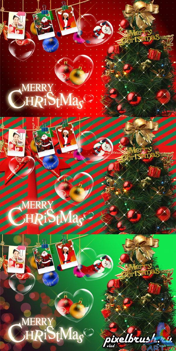3 Christmas Cards - ��� ���������� �������� �� ������� Photoshop
