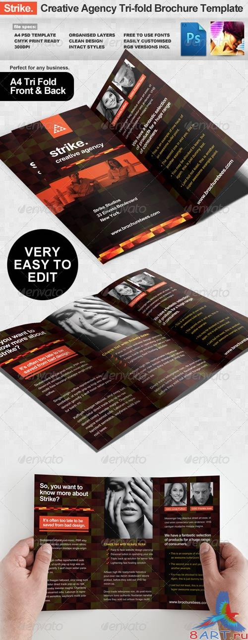GraphicRiver Strike Creative Agency Tri-fold Brochure Template