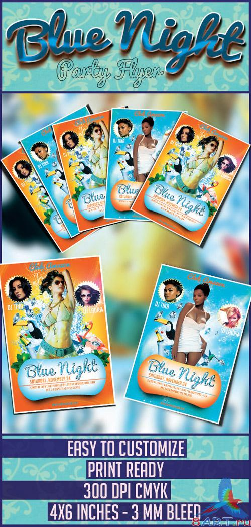 Blue Night Flyer/Poster PSD Template