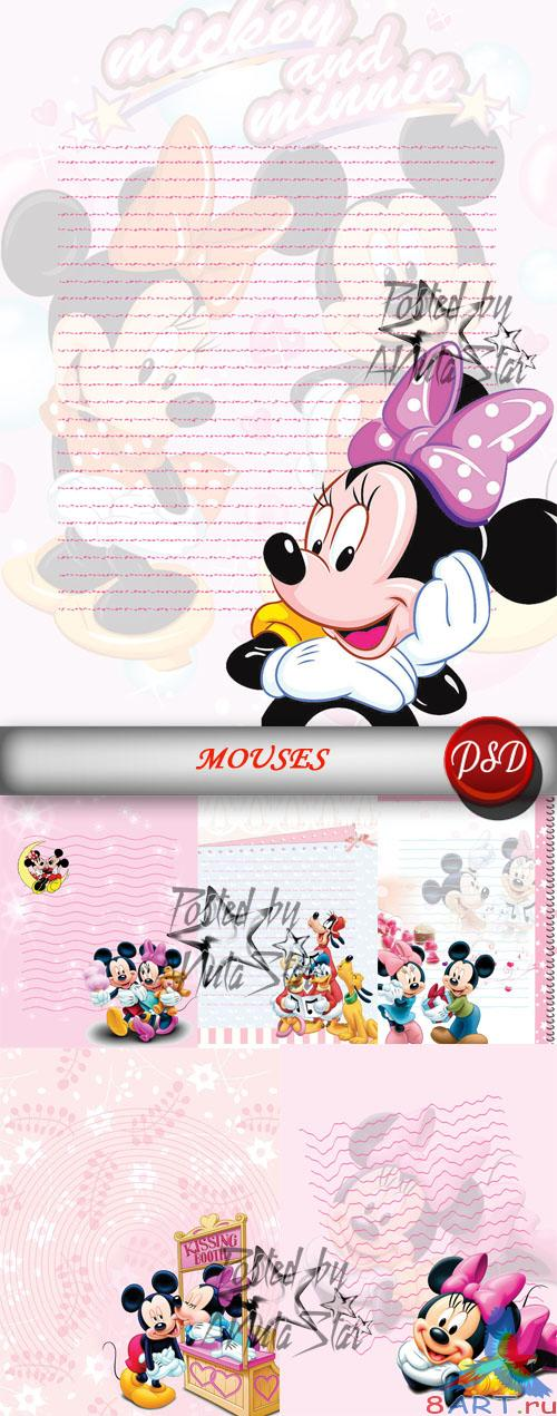 PSD - Children's backgrounds for text with Mickey & Mini Mouse Детские фоны с целью текста начиная с Мики также Мини Маус