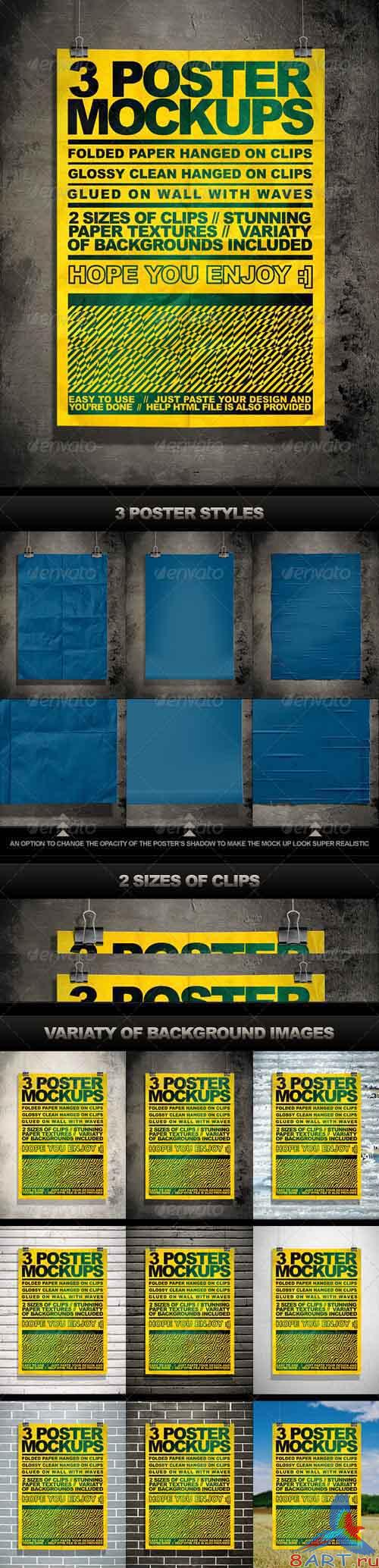 GraphicRiver Poster Mock Up Kit = 3 Unique Styles + Backgrounds - REUPLOAD