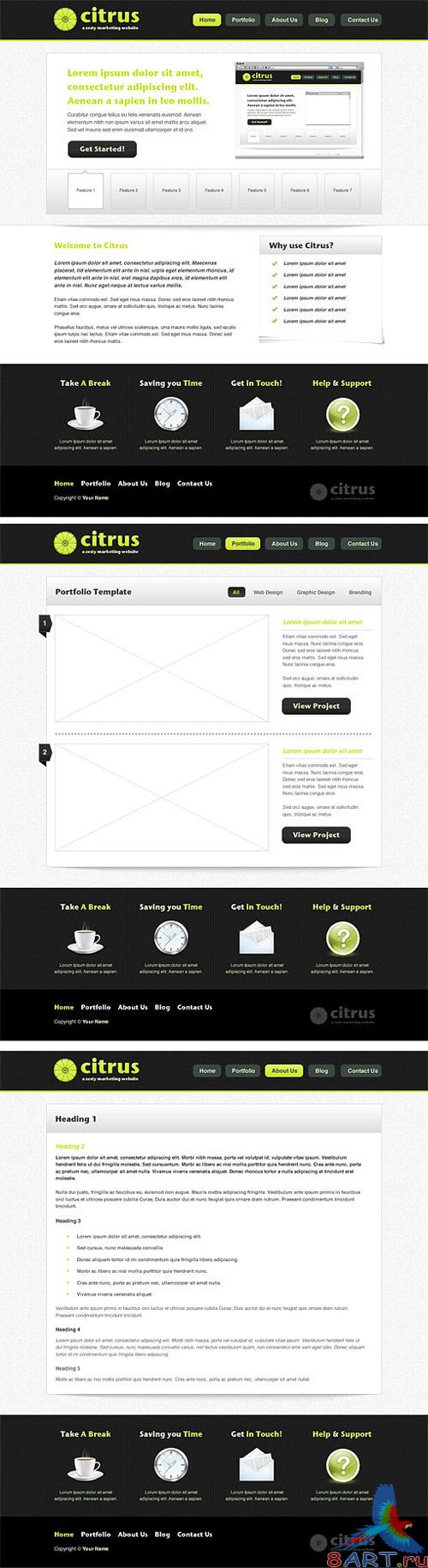 MediaLoot Citrus Marketing Website Template PSD and PNG - RETAIL