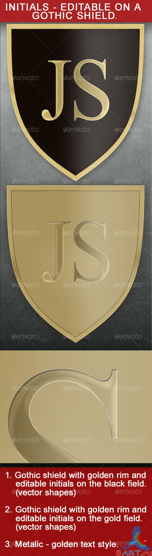 Gothic Shield With Editable Initials – GraphicRiver