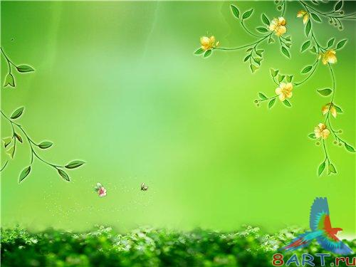 PSD - Green Floral Theme with Yellow Flowers