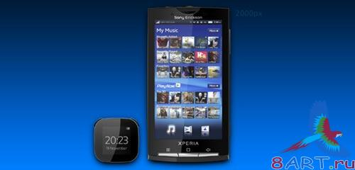 Mobile template for Sony Ericsson. PSD, PNG