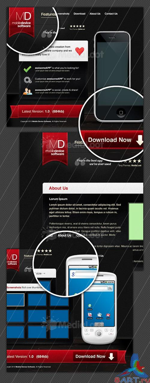 MediaLoot Mobile App Website Template PSD and PNG - RETAIL