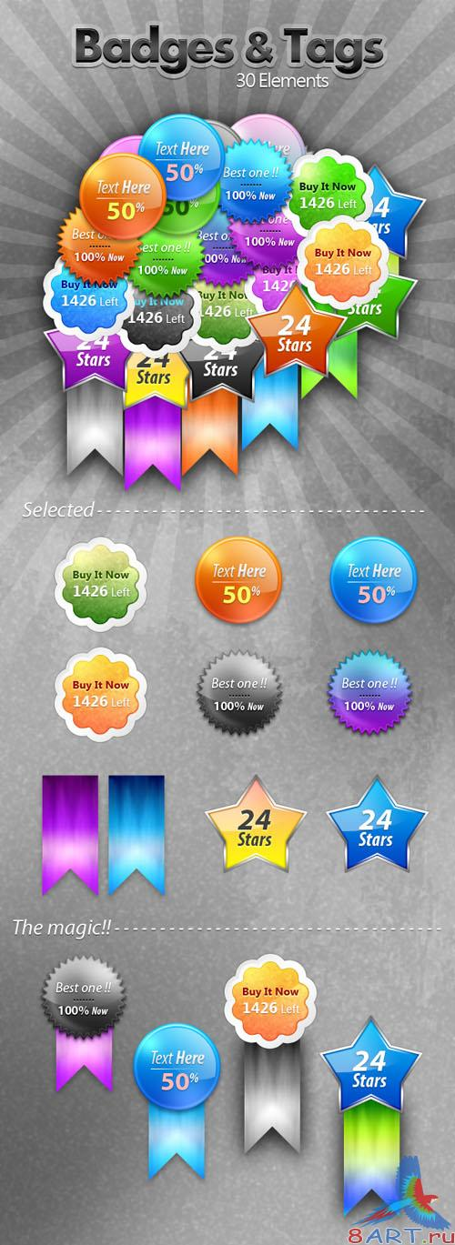 Badges and Tags PSD Template