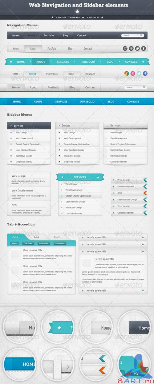 GraphicRiver Web Navigation and Sidebar Elements