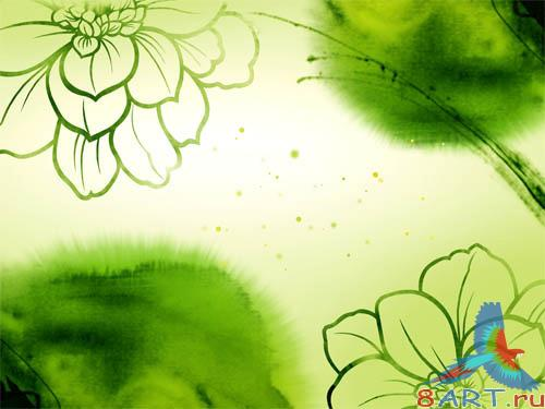 PSD - Green Flowers Template