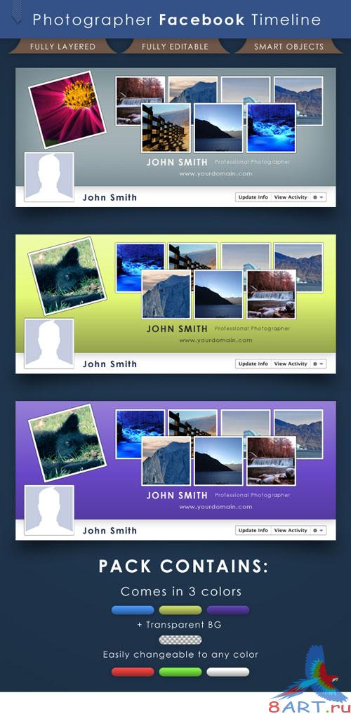 Photographer Facebook Timeline Cover PSD Template REUPLOAD