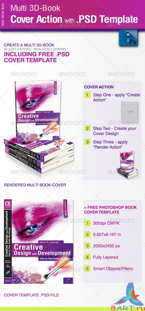 Multi 3D-Book Cover Action with PSD Template