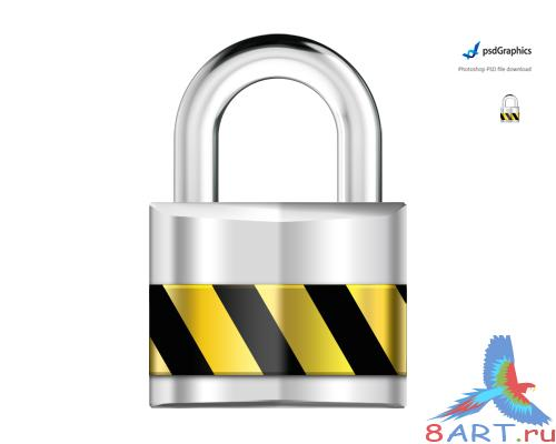 Silver padlock, security PSD Source
