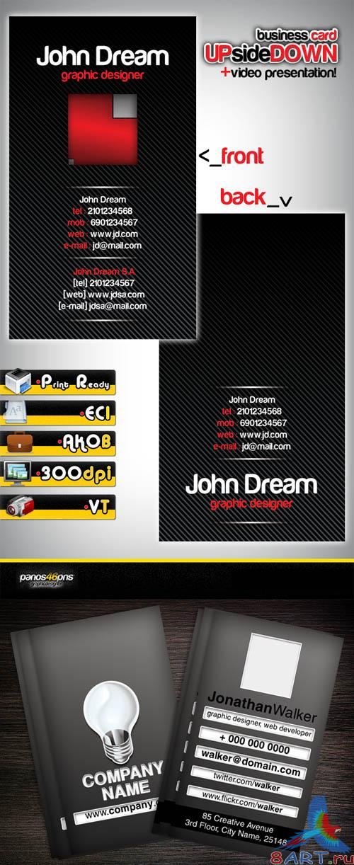 Business cards upsidedown for graphic designers