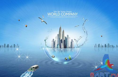 Creative Future Sea World PSD layered material