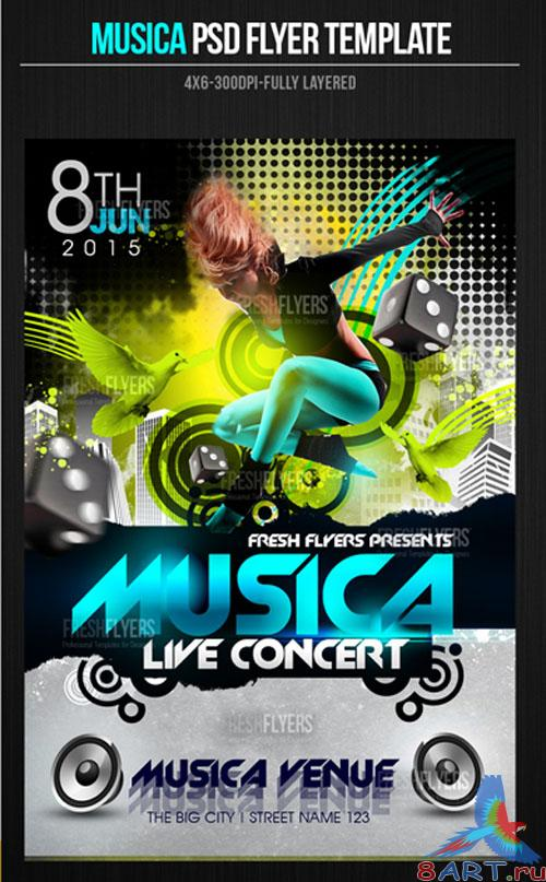 PSD Template - Musica Party Flyer/Poster