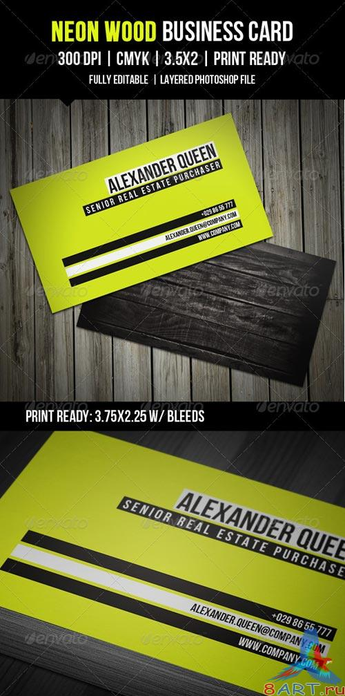 GraphicRiver Neon Wood Business Card