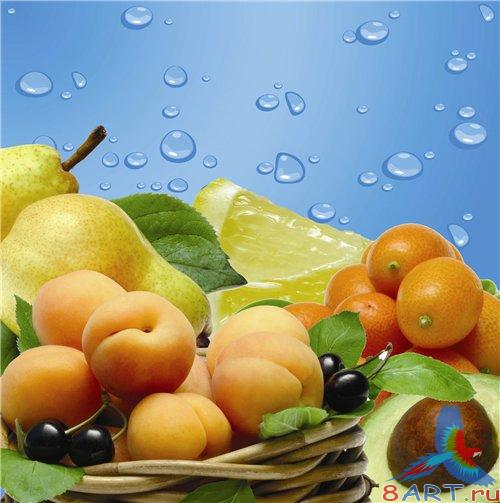 PSD - Fruit Mix and blue Background