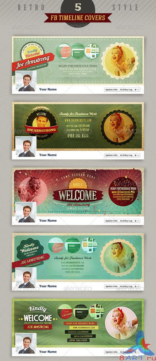GraphicRiver 5 Retro Facebook Timeline Covers