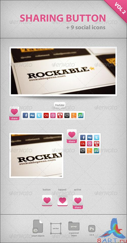 SHARING BUTTON + 9 social icons - GraphicRiver