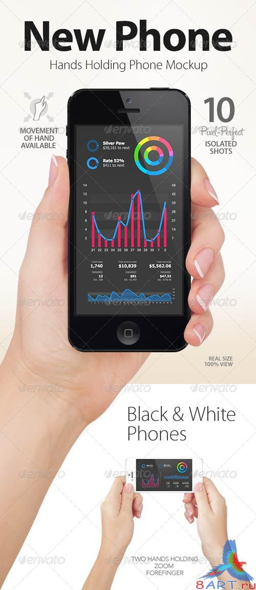 GraphicRiver Hands Holding Black and White Phones | App & UI Mockups