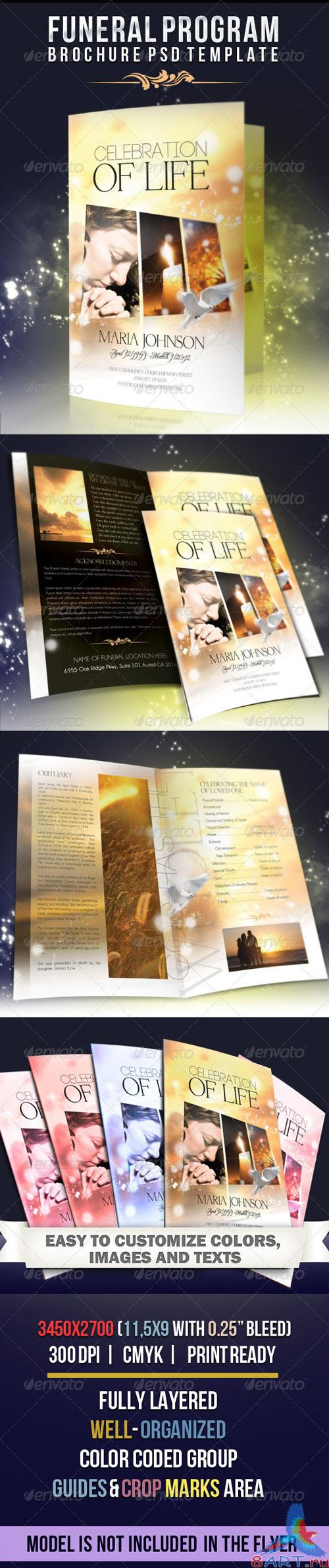 GraphicRiver - Celebration of life - Funeral Program Brochure Template 2549525