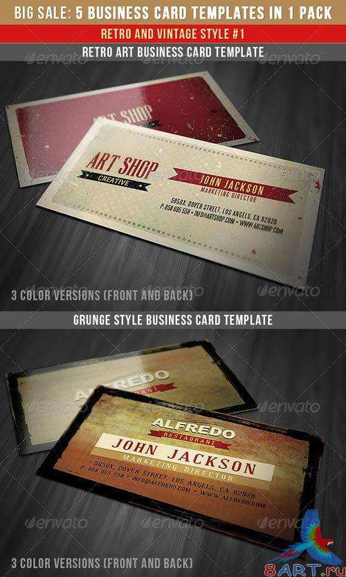 GraphicRiver Retro Business Cards Bundle