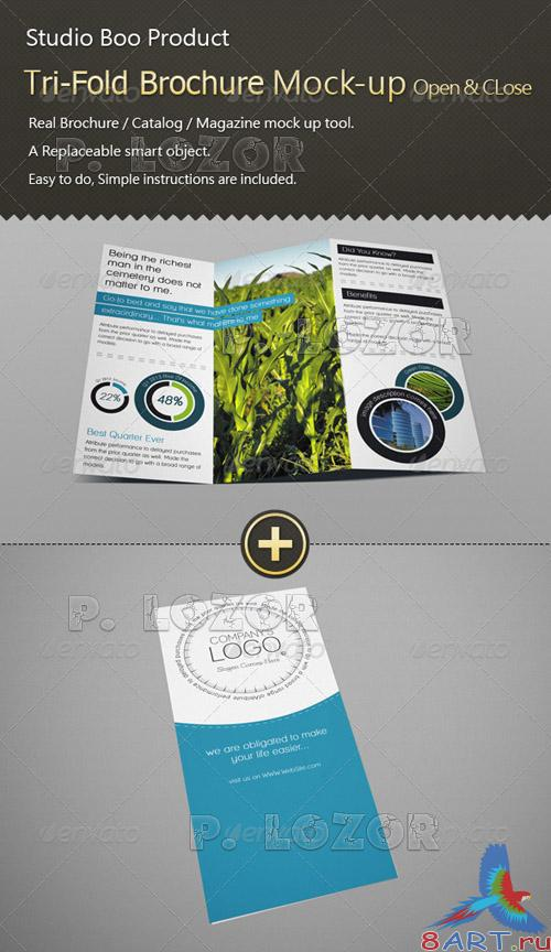 Tri-Fold Brochure Catalog Mock-up Open & Close