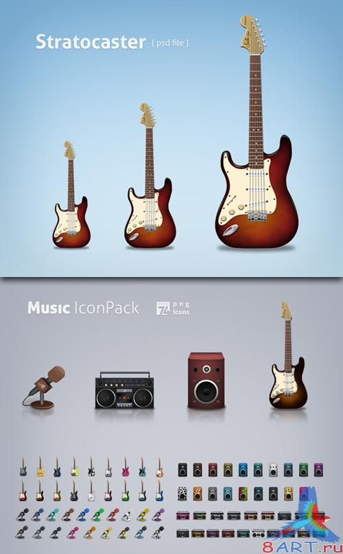 Music Icon Pack & Guitar Classic PSD Source File