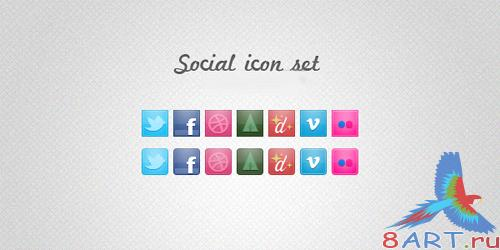NEW PSD Social Icon Set